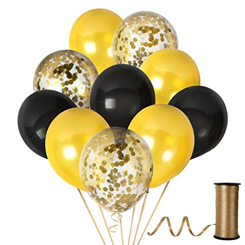 12 Inch Black and Gold Confetti Balloons Party New Year Decorations for Congrats Graduation Supplies Wedding Anniversary Birthday with Metallic Latex Golden Kit