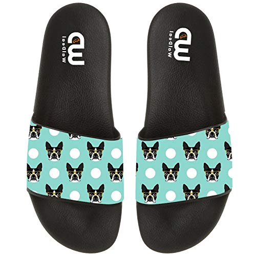 Boston Terrier Dog With Glasses Summer Slide Slippers For Girl Boy Kid Non-Slip Sandal Shoes size 3]()