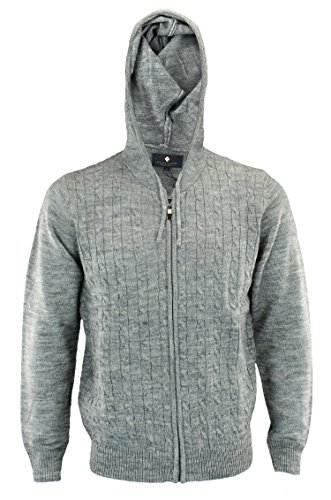 Argyle Culture Mens Cable Knit Zip Up Hoodie, (Argyle Hoody)