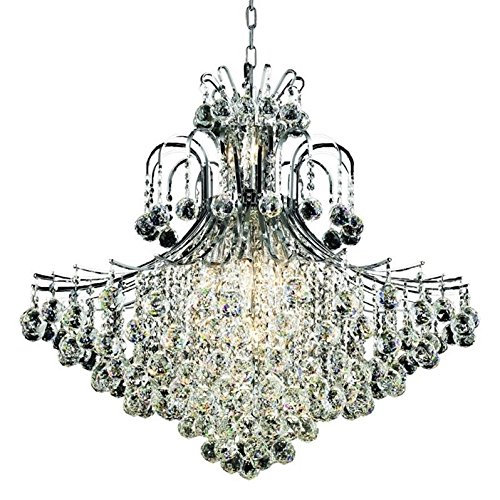 5G31C/Rc Royal Cut Clear Crystal Toureg 15-Light, Two-Tier Crystal Chandelier, Finished In Chrome With Clear Crystals, 31