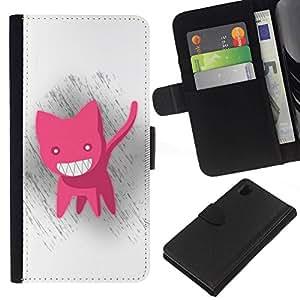 All Phone Most Case / Oferta Especial Cáscara Funda de cuero Monedero Cubierta de proteccion Caso / Wallet Case for Sony Xperia Z1 L39 // Funny Cute Pink Cat