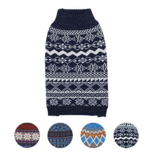 Blueberry Pet 4 Patterns Vintage Tinsel Knit Fair Isle Dog Sweater in Midnight Blue, Back Length 14'', Pack of 1 Clothes for Dogs by Blueberry Pet