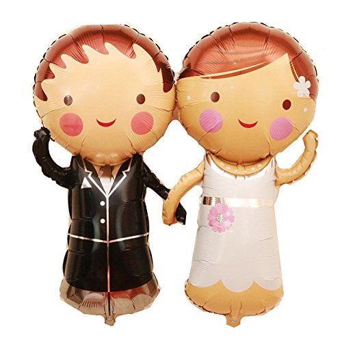 Bride And Groom Balloons (Ximkee 34 Inch Wedding Couple Helium Foil Inflatable Balloons Party Decoration)