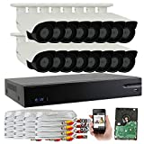 GW Security 2.1 MegaPixel HD 1080P Color Night Vision Security Camera System with 16 Channel DVR and 12 x 1080P Starlight Outdoor / Indoor Bullet Cameras, Quick QR Code Remote Access