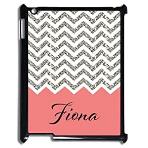 Black and White Chevron with Coral Handwriting Monogram Design Custom Luxury Cover Case For IPad( Black ) ALL MY DREAMS!!