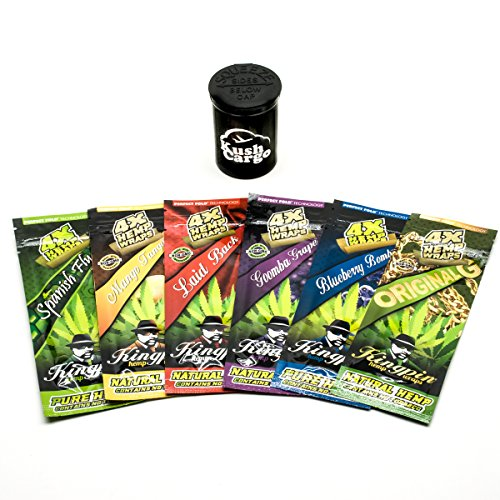 King Pin Hemp Wraps All Natural Variety Pack 6 Pack with KC Pop Top