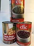 Chick Peas (Garbanzo Beans) and Lentils and Kidney Beans - 3-Can PROTEIN PACK 22 g -PLUS of Protein per Can