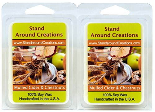 100% All Natural Soy Wax Melt Tarts - Set of 2 - Mulled Cider and Chestnuts: Warm and comforting, our Mulled Cider and Chestnuts puts a twist on the classic fall and winter scents of spiced cider and roasted chestnuts. This highly scented fragrance begins with spicy orange, nutmeg, and clove notes blended perfectly with rich nutty undertones of vanilla and caramel - 3ozs./ea. - Naturally Strong Scented