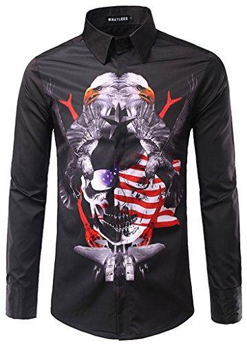 Whatlees Mens Fashion Luxury Casual Slim Fit Stylish Long Sleeve Dress Shirts B063-Black-XL