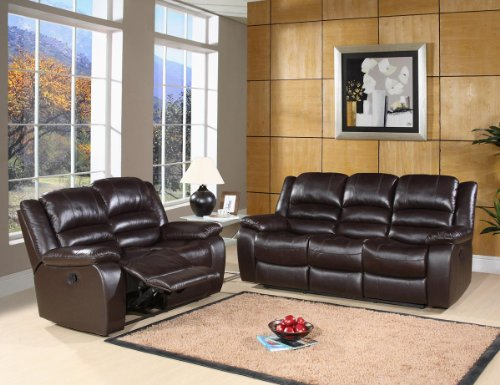 Brownstone Reclining Leather Sofa and Loveseat Set in Dark Brown By Abbyson Living -