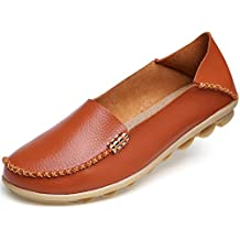 Beststore VAO Summer Candy Colors Genuine Leather Women Casual Shoes New Fashion Breathable Slip-On Peas Massage Flat Shoes Plus Size 35-44