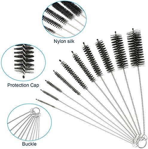 Juego de 12 cepillos de filtro de acuario de nailon para tubo flexible de doble punta para manguera de acero inoxidable 3