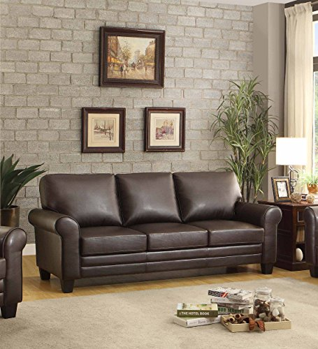 Homelegance 8579db 3 Upholstered Sofa Dark Brown Bonded