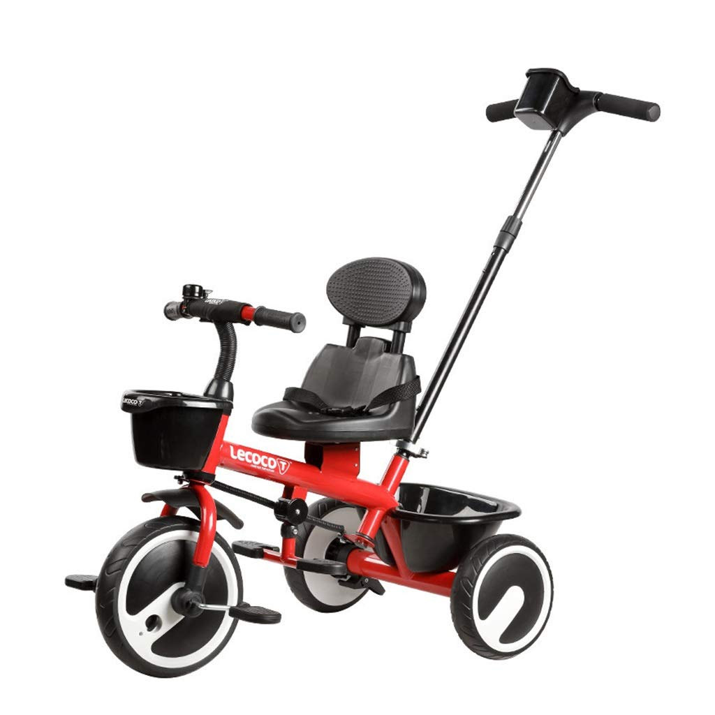 Xing Hua Shop Stroller Toys Children's Tricycle Pedal Bicycle 1-6 Years Old Children's Trolley Can Be Stored Before and After The Basket Can Ride Can Push (Color : Red)