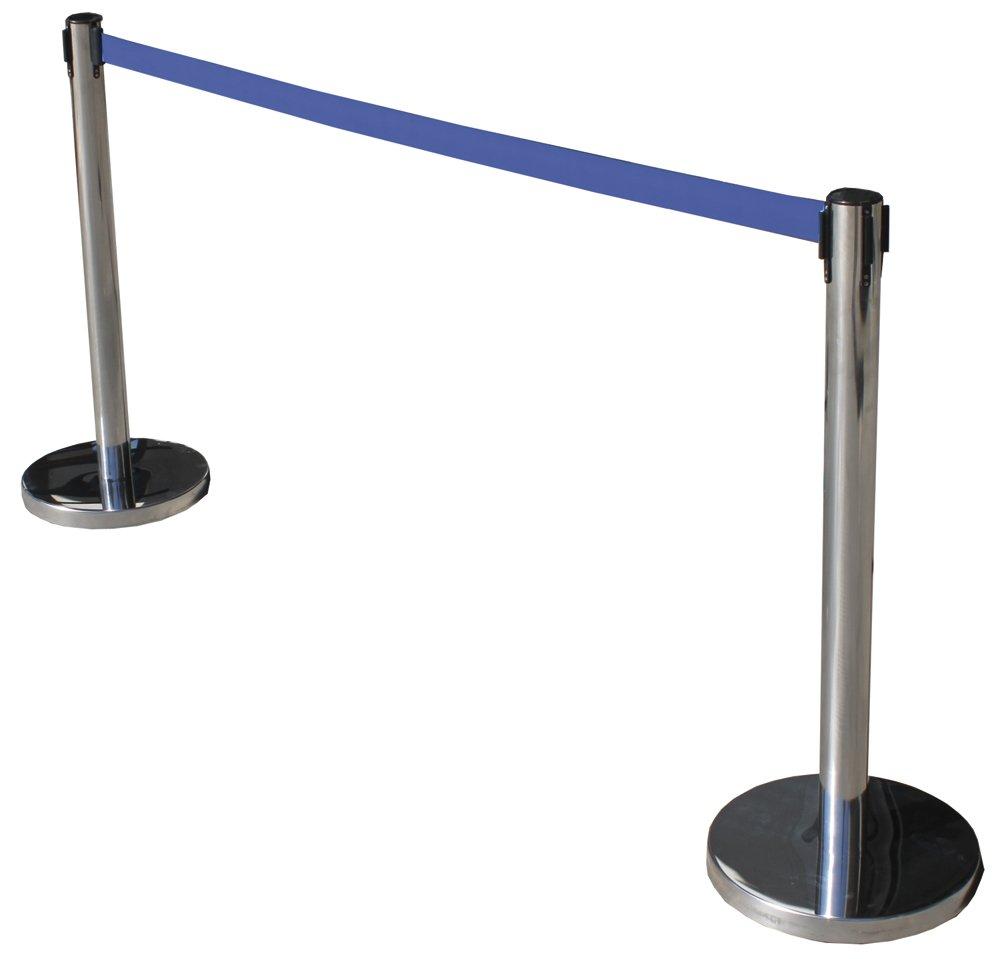 Poste separador de acero inoxidable con Cinta Extensible Azul 3m. Delimitador de paso con cinta extensible de 3 m. Poste retráctil. (2- Postes)