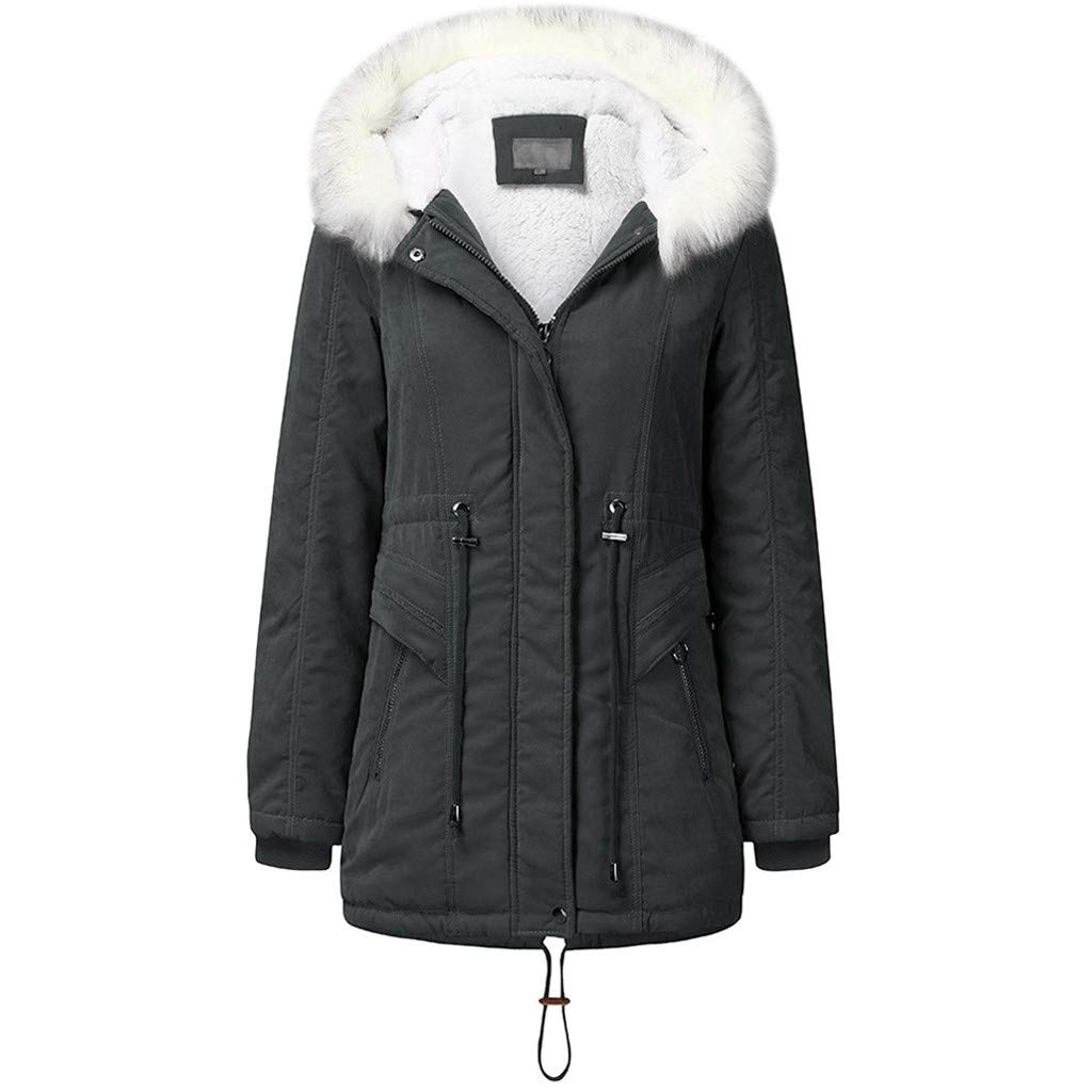 Eoeth Womens Lapel Zipper Long Trench Coat Jacket Ladies Shearling Shaggy Collar Overcoat Outwear Tunic Pocket Warm Winter Gray by Eoeth