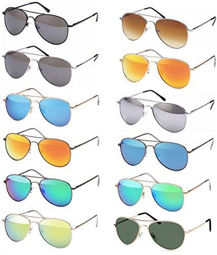 Pilotenbrille Sonnenbrille 70er Jahre Herren & Damen Sunglasses Fliegerbrille verspiegelt (Gold/Brown)