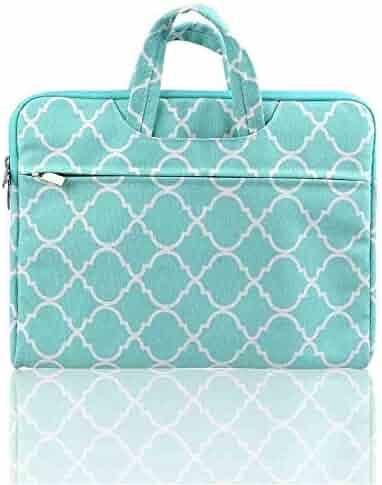 Kitron(TM) Quatrefoil/Moroccan Trellis Laptop Canvas zipper Sleeve Bag Green Briefcase for 12.9 iPad Pro / 13.3 Inch Laptop / Notebook Computer / MacBook Air / MacBook Pro (Turquoise)