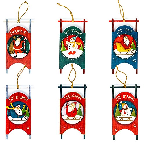 Harbor 55 Christmas Wooden Sled Ornament Decorations Set of 6 Painted, Snowman, Santa, Vintage Sled Decor