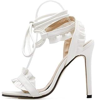 b000afb093 YOGLY Escarpins Femme Elegante Sandale Fleur Dentelle Talon Aiguille Haut  Bout Ouvert Chaussure Club Soiree