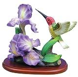 Hummingbird Figurine Porcelain with Iris Flowers on Wood Base
