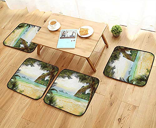 (Leighhome Elastic Cushions Chairs Palm Coconut Trees and Ocean Waves Across Mountains on Paradise Island Beach Image for Living Rooms W29.5 x L29.5/4PCS Set)