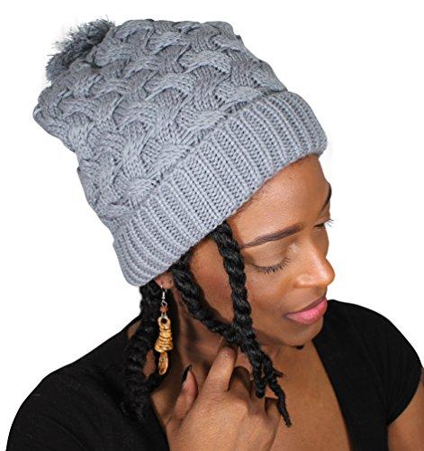 f6a50cf8c3ca3 Always Eleven Satin Lined Knit Beanie Slouchy Hat With Pom Pom ...