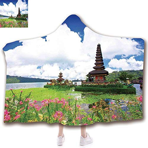 Fashion Blanket Ancient China Decorations Blanket Wearable Hooded Blanket,Unisex Swaddle Blankets for Babies Newborn by,Temple in Bali Tropic Flowers Water Plants Tower ,Adult Style Children Style -