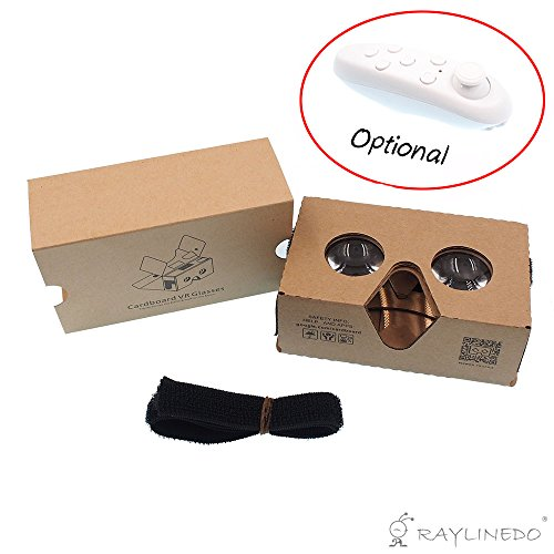 RayLineDo Cardboard 2.0 Easy Assembale VR Virtual Reality Glasses Headset With Head-strap Featuring Capacitive Touch Button Compatible With IOS and Android