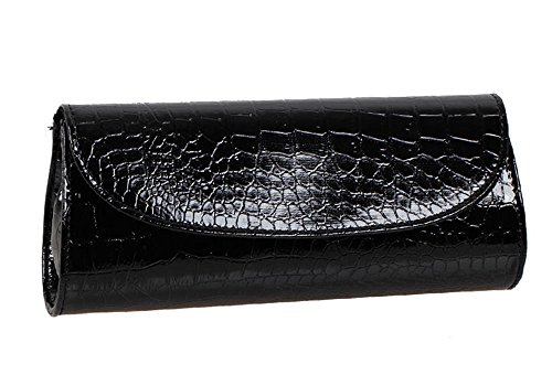 Bundle Monster Womens Envelope Evening Patent Croc Skin Embossed Clutch - BLACK