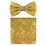 jacob alex #46350 formal Men's micro fiber Pre-tied Bow Tie and Hankie Gold yellow paisley