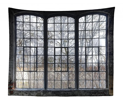 "Lunarable Industrial Tapestry King Size, Old Large Window with Broken Panes Deserted Hall Forest Trees Winter, Wall Hanging Bedspread Bed Cover Wall Decor, 104"" X 88"", Green White"