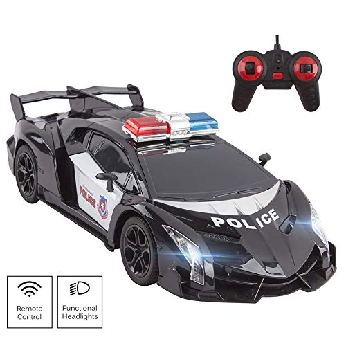 Vokodo Police RC Car Super Exotic 12 1:16 Scale Size Kids Remote Control Easy to Operate Toy Sports Cars with Functional LED Headlights Cop Race Vehicle Full Function Great Gift for Boys (Black)