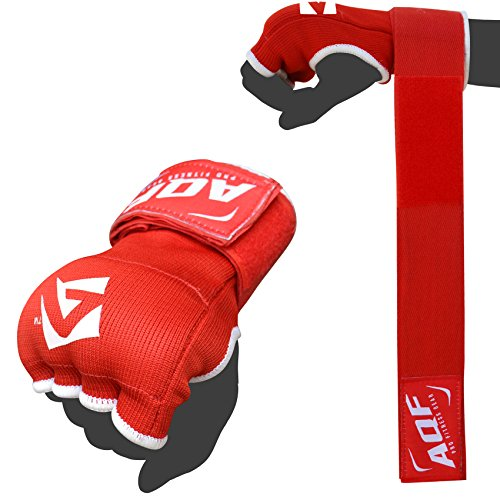 AQF Boxing Inner Gloves Hand Wraps Fist Padded Bandages MMA Gel Strap Mitts Kick Black Blue /& Red