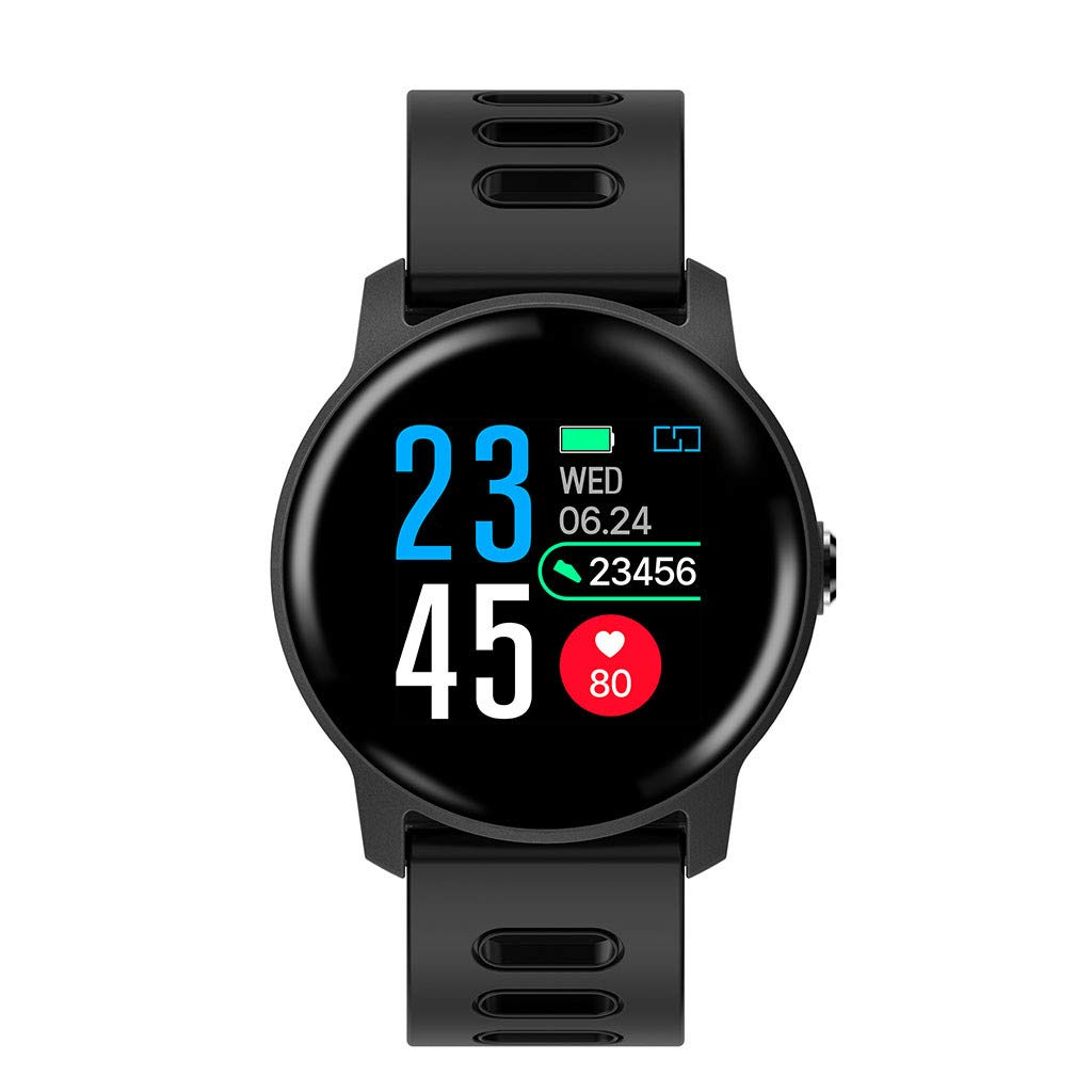For Android & iOS, Waterproof Sport Smart Watch Fitness Heart Rate Tracker Blood Pressure Calorie Monitor Smart Bracelet (Black)