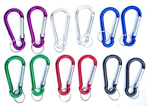 RORAIMA Carabiner Clip 3 Aluminum Gourd Shape Key Chain Carabiners Hooks Set for Outdoor Camping Durable Improved Carabiner Hooks Not for Mountain Climbing 12 pc