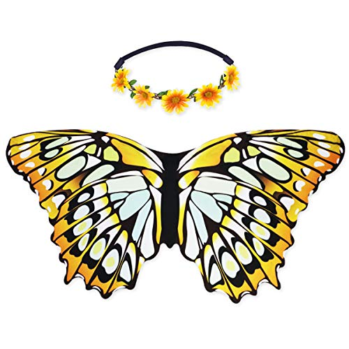 Flying Childhood Girls Butterfly Wings Costume with Daisy Headband for Kids Fairy Princess Dress Up Party -