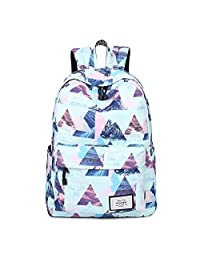 """Artone Mountain Landscape Water Resistant Big Capacity Backpack School Daypack With Laptop Compartment Fit 14"""" Notebook Blue"""
