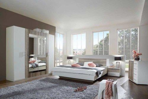 3-tlg-Schlafzimmer-in-alpinwei-mit-Wildeiche-Nachbildung-Kleiderschrank-Breite-225-cm-Futonbett-180-x-200-cm-2-Nachtschrnke