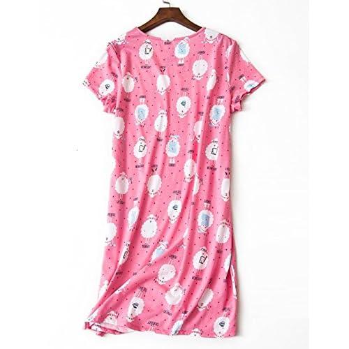 2d8ee2f4825ca1 VENTELAN Women Pajama Soft Cotton Nightgown Tshirt Kawaii Sheep Print  Nightwear best