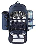 Search : Picnic Basket Backpack Set for 4 with Insulated Cooler Compartment, Detachable Wine Bottle Holder, Fleece Blanket, Flatware, Plates, Salt and Pepper Shakers, Cutting Board, and Wine Glasses, Blue