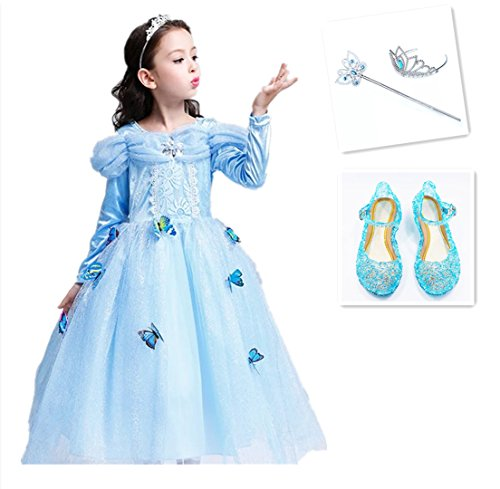 Teen Disney Princess Costumes (HaimaitaoFrozen Disney Halloween Sophia Cinderella Children's birthday dress Princess Dress Butterfly Sequins Tulle Lace Tutu Party Costumes Long Sleeve Dress7-8Y)
