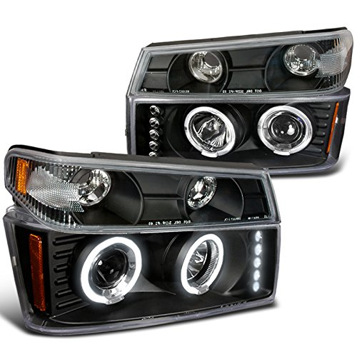 Chevy Colorado GMC Canyon Black Halo Led Projector Headlights, Corner lights (Black Headlights Corner Lights)