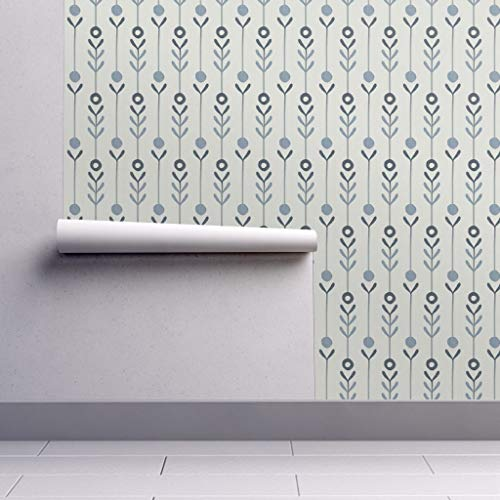 (Peel-and-Stick Removable Wallpaper - Modern Farmhouse Flowers Modern Farmhouse Floral Modern Farmhouse by Anita Prints - 24in x 108in Woven Textured Peel-and-Stick Removable Wallpaper Roll )
