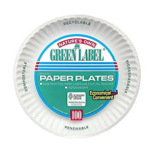 Green Label Uncoated Paper Plates, 9 in., White, 1200 Per Case