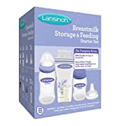 Lansinoh Breastmilk Storage & Feeding Set With 2-5 Ounce Bottles, 2-8 Ounce Bottles, 2 Slow Flow Nipples, 2 Medium Flow Nipples, 4 Bottle Caps & Collars, 4 Storage Caps, 30-6 Ounce Milk Storage Bags