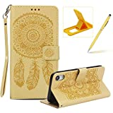 Strap Pu Leather Case for iPhone XR,Wallet Flip Cover for iPhone XR,Herzzer Classic Elegant Book Style [Yellow Wind Chime] Embossed Slim Fit Stand Leather Folio Pouch Protective Mobile Cellphone Case for iPhone XR