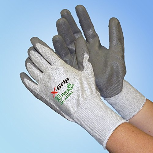 X-Grip Cut Resistant Palm Coated Glove, Gray, LG, pair
