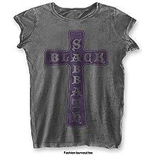 Black Sabbath 'Vintage Cross' Womens Burnout T-Shirt