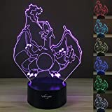 VYI.ME 3D Night Light 7 Color Change Touch Button Room Decor Best Kids Gifts (Charizard)